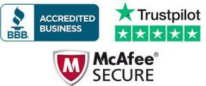 BBB Accredited Business 5 Star Trustpilot Rated McAfee Secure